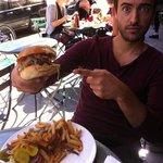 My friend with the big hamburger