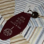 LOVE these old-style motel keys!