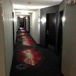 airy hallway. 401 is door at end.