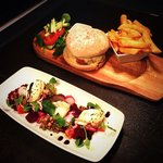 Baked goats cheese starter and a pork, apple and chorizo burger.
