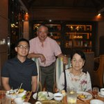 Mike , Paolo and Mama during dinner