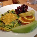 Scrambler with sausage broccoli cheese
