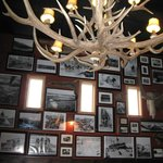Historic photos, cool chandelier at Prospectors