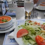 Delicious gazpacho and mixed green salad.
