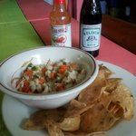 fantastic ceviche ... warm chips...cold beer