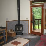 Woodstove, deck at Kenai Princess