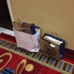 Freeport shopping bags left in hall