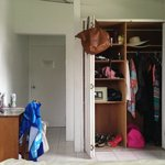 The closet space in Room #9 is big enough for 2 people or a longer stay.