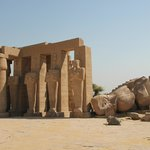 The giant fallen statue of Ramesses