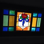 Stained glass window above the kitchen