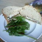 Feta, salsa and spinach sandwich on granary bread with a dressed salad - divine!