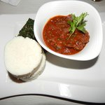 Traditional beef stew, ugali and sauteed spinach. Yum!