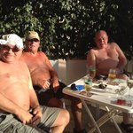 Kenny, Bill and Ted enjoying the sunshine in the jarrow lad