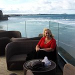 Outdoor lounge area and view across Watergate Bay