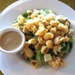 caesar salad with shrimp and calamari