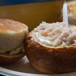 Clam chowder bread bowl with an extra scoop of seafood.