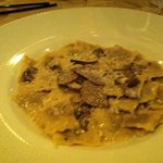 Veal ravioli with wild mushrooms and cream of truffle. Just delicious!