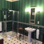 Huge bathroom with a Juliet Balcony. Full size tub was wonderful to relax in after 14 days on th