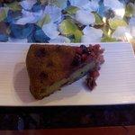 Gâteau thé vert/ fruits rouges excellent