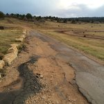 The beat-up road to the tent sites and cowboy cabins