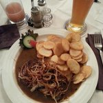 Steak with Potato and fried onions