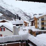 Blick vom Balkon in Richtung Skilifte