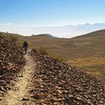 My wife on the lower trail.  High Sierra across the dusty Owens Valley in the distance.