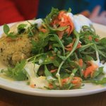 Three Birds - Herb & cheddar bulgur wheat cake, cheese & port sauce and carrot salad