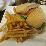 Shrimp Po'Boy Sandwich & fries