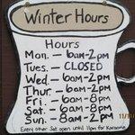 Calamity Janes Winter Hours