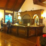 Beautiful Carved Oak at Front Desk