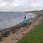Narrow beach at Craig Tara, Ayr is great for walking.