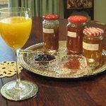 An array of homemade jams and marmalades