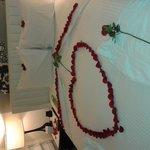 rose petal filled room