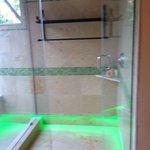 Semi outdoor shower in Spanish casita