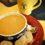 Pumpkin bisque, one of our seasonal soups.