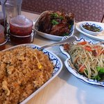 Papaya Salad, Chicken Fried Rice and Duck