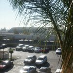 Out the hotel window, parking lot, TRAIN!