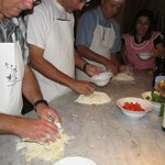 Tuscan cooking class, making the dough for the pici