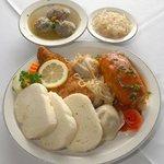 Polish Plate - Stuffed Cabbage, Meat Pierogi, Weiner Schnitzel with Liver Dumpling Soup