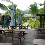 Dining Deck at Crusoe's bar on the beach.