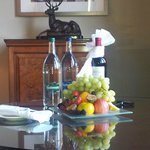 Fruit and wine tray - gift from hotel