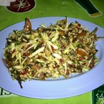 Spicy tea leaf salad.  Delicious! Only 40 baht!