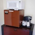 Mini-Fridge, Microwave and Keurig Coffee Maker w/coffee in every room