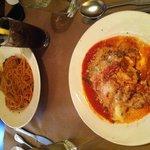 Spaghetti with meatballs, and Lasagna
