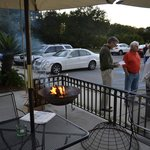 Outdoor seating is made better on cold afternoons with a fire pit
