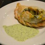 Heavenly empanadas with cilantro sauce