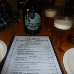 A fiddlehead growler with the menu