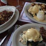 Crab Bene - split plate with Corned Beef Hash