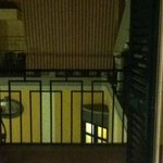 View from balcony into enclosed courtyard